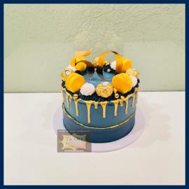 Navy blauw & goud driptaart 10 personen
