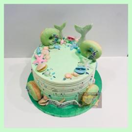 Zeemeermin/ mermaid taart 10 personen