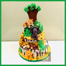 Wilde dieren taart 24 personen 3 lagen