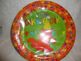 Dikkie Dik papieren borden 8 stuks