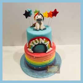Eenhoorn/ unicorn geboetseerd regenboog taart 16 personen