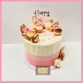 Shiny Gold & Pink driptaart 10 personen