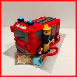 Brandweerauto Sam taart 3D voor 16 personen