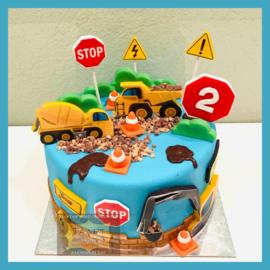 Werk voertuigen taart 10 personen