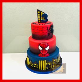 Spiderman taart 24 personen 3 lagen