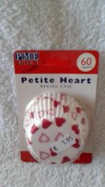 Cupcake vormpjes Hartjes wit/rood 60 stuks PME