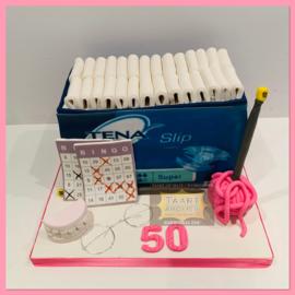 Tena taart (50 jaar) 3D voor 16 personen