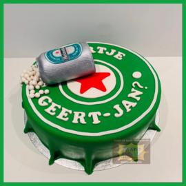 Bierdop taart met blikje 3D voor 16 personen