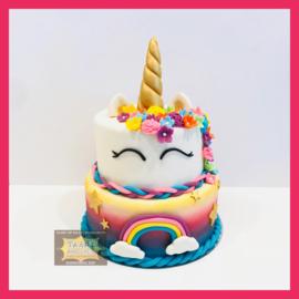 Airbrush Eenhoorn/ unicorn taart 16 personen