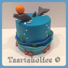 Dolfijn taart 16 personen