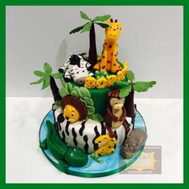 Wilde dieren taart giraffe/ zebra/ aap/ krokodil/ nijlpaard/ leeuw 16 personen