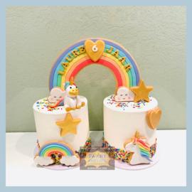 Regenboog taart 3D voor 24 personen