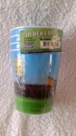 Voetbal 3D papierenbekers - 4 stuks