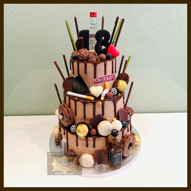 Chocolade Driptaart 24 personen 3 lagen (ZONDER FLESJES)