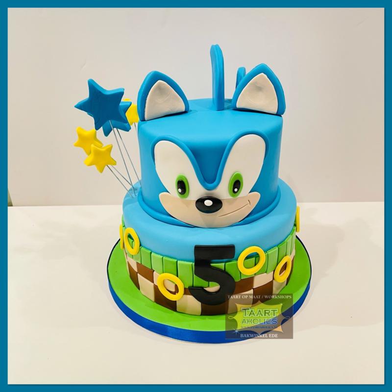 Sonic  taart 16 personen