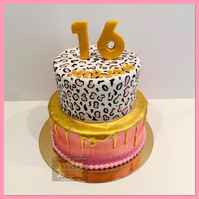 Sweet 16 luipaard print en goud Driptaart 16 personen