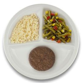 Veg. hamburger met jus, witte rijst, wokgroenten