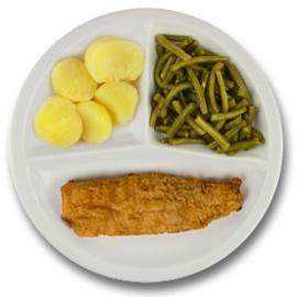 Lekkerbekje met vegetarische jus, gekookte aardappelen, sperziebonen ZONDER TOEGEVOEGD ZOUT & KALIUMBEPERKT