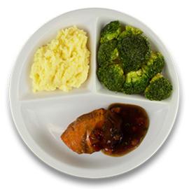 Kalkoenhaasje in tomaat-tijmjus, aardappelpuree, broccoli LACTOSE BEPERKT