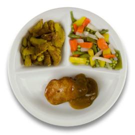 Varkenshaasoester peperroomsaus, Gebakken wedges cajunkruiden, gemengde groente
