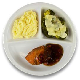 Kalkoenhaasje tomaat-tijmjus, aardappelpuree, broccoli a la crème ZONDER TOEGEVOEGD ZOUT