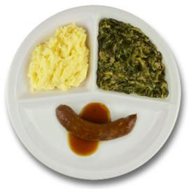 Kalfssaucijsje met mosterdjus, aardappelpuree, andijvie à la crème  ZONDER TOEGEVOEGD ZOUT & KALIUMBEPERKT