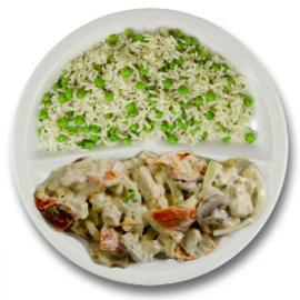 Veg. reepjes met champignons, kruidenrijst met doperwten
