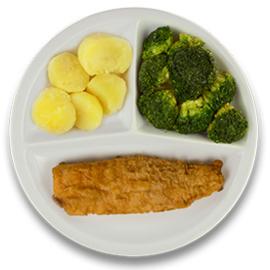 Gebakken lekkerbekje met jus, gekookte aardappelen, broccoli LACTOSE BEPERKT