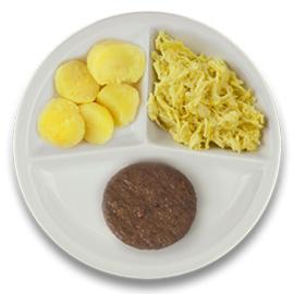 Veg. hamburger met jus, gekookte aardappelen, witte kool met kerriesaus