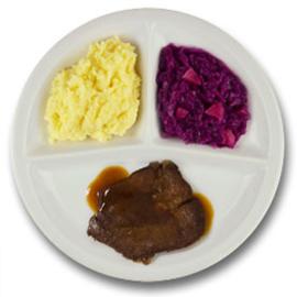Runderlapje met vleesjus, aardappelpuree, rode kool met appel