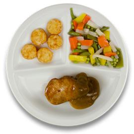 Varkenshaasoester met peperroomsaus, gebakken röstikos, gemengde groente