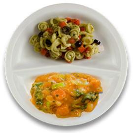 Veg. stoofpotje prei en bataat, pastaschelpjes met pesto VEGETARISCH