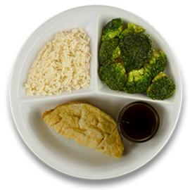 Veg. omelet kaas met jus, witte rijst, broccoli