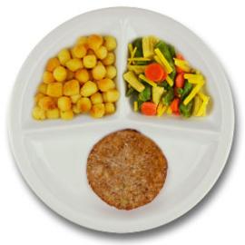 Veg. notenburger met vegetarische jus, gebakken aardappelen, wokgroenten