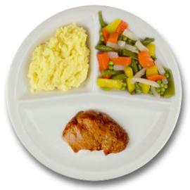 Varkenshaasoester met vleesjus, aardappelpuree, gemengde groenten ZONDER TOEGEVOEGD ZOUT & KALIUMBEPERKT