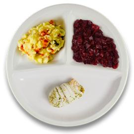 Tongschar-zalm met hollandsaisesaus, aardappelpuree kappertjes, rode bietjes