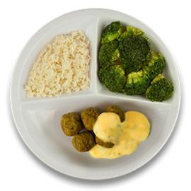 Veg. balletjes met kokos-kerriesaus, witte rijst, broccoli