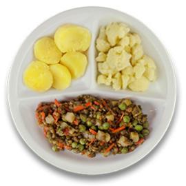 Veg. linzenstoof met kapucijners, gekookte aardappelen, bloemkool