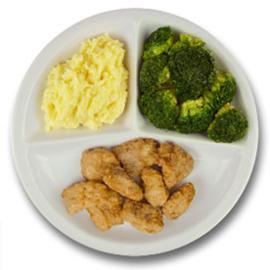 Gebakken kibbeling met vegetarische jus, aardappelpuree, broccoli