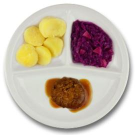 Twentse gehaktbal met vleesjus, gekookte aardappelen, rode kool met appel LACTOSE BEPERKT