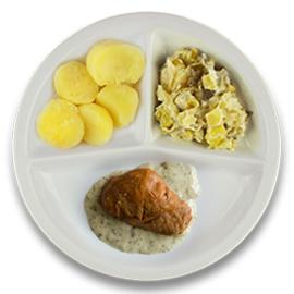 Varkenshaasoester pestoroomsaus, gekookte aardappelen, prei à la crème ham