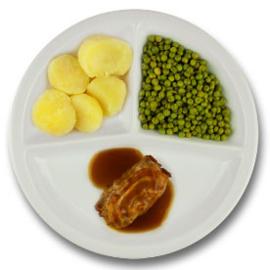 Varkensslavink met vleesjus, gekookte aardappelen, doperwten