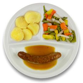 Varkenssaucijsje met mosterdjus, gekookte aardappelen, gemengde groenten LACTOSE BEPERKT