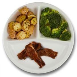 Spareribs, roseval kriel met tijm, broccoli
