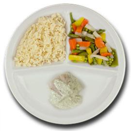 Roodbaarsfilet met citroen-dillessaus, witte rijst, gemengde groenten ZONDER TOEGEVOEGD ZOUT & KALIUMBEPERKT