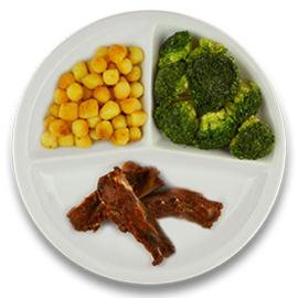 Spareribs, gebakken aardappelen, broccoli (v)