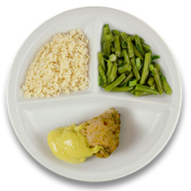 Gevulde kipfilet met roomkaas en kerriesaus, witte rijst, sperzieboontjes