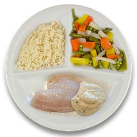 Roodbaarsfilet met mosterdsaus, witte rijst, gemengde groenten ZONDER TOEGEVOEGD ZOUT & KALIUMBEPERKT