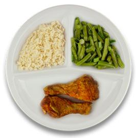Gemarineerde kipdrumsticks, witte rijst, sperziebonen LACTOSE BEPERKT