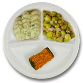 Runderboomstammetje met vleesjus, puree persillade, spruitjes met spek en ui